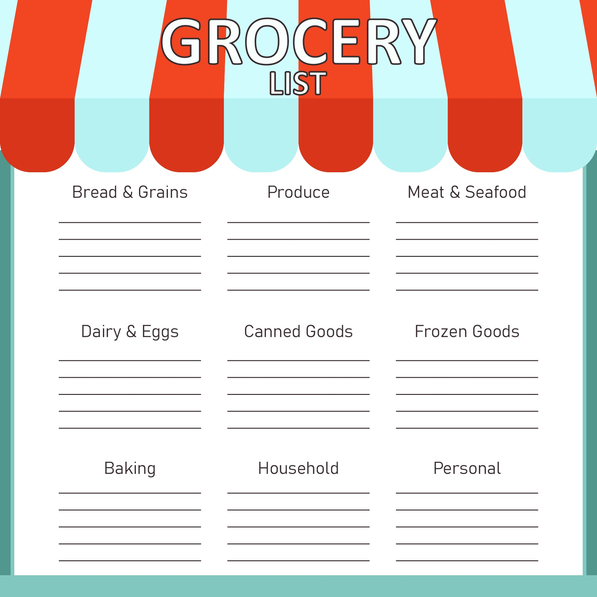 Printable Grocery Shopping List Template