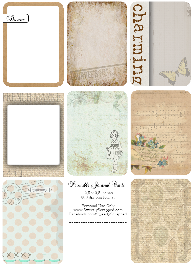5 Images of Printable Journaling Cards