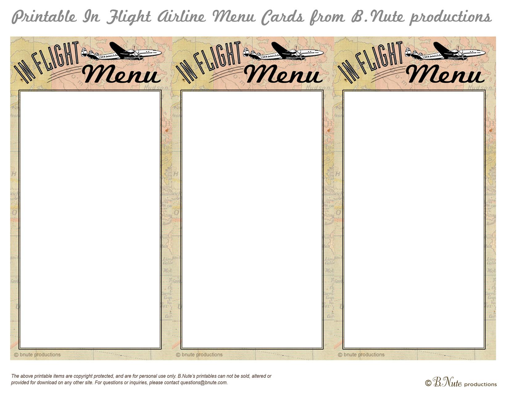 free printable menu card template