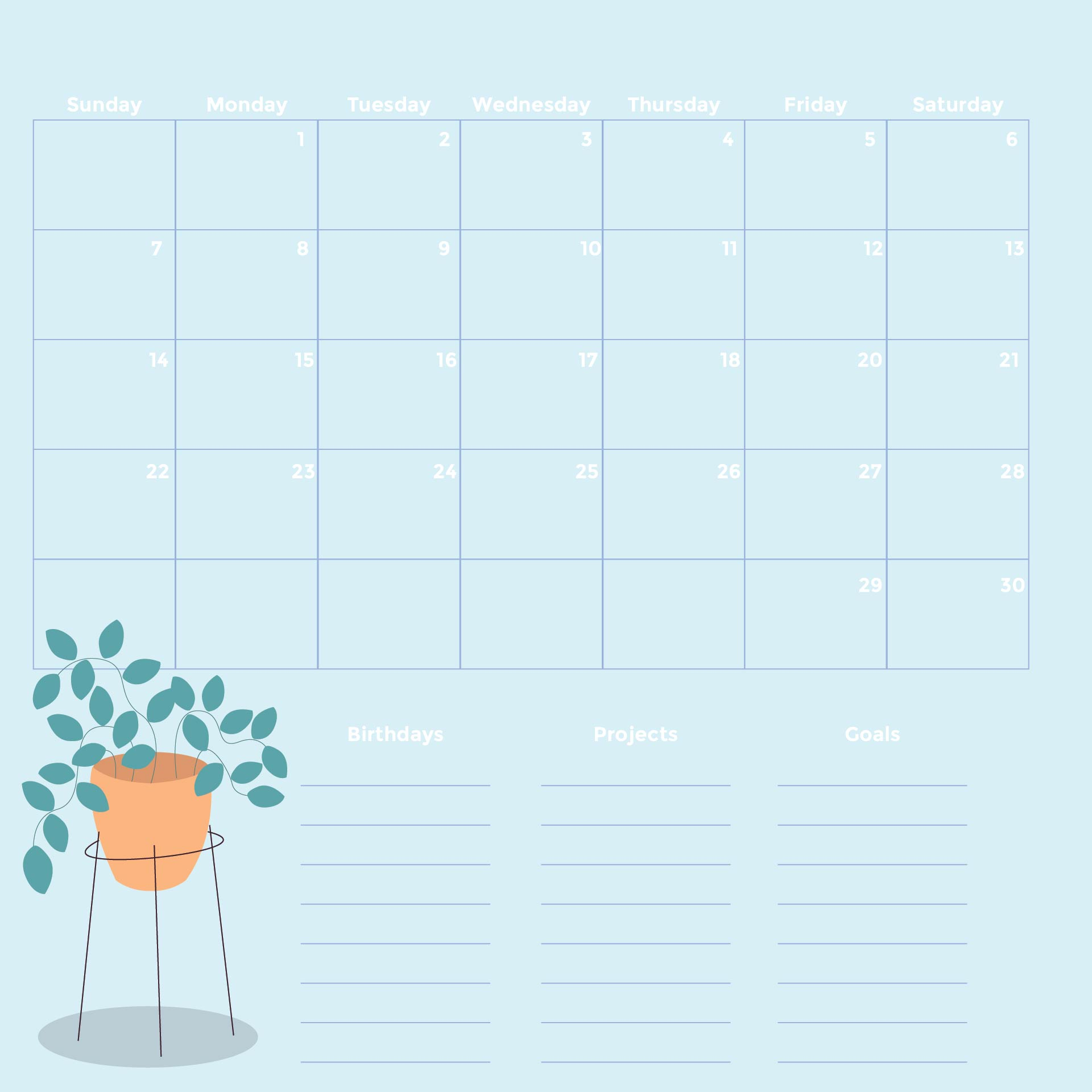 8 Images of Monthly Calendar Printable