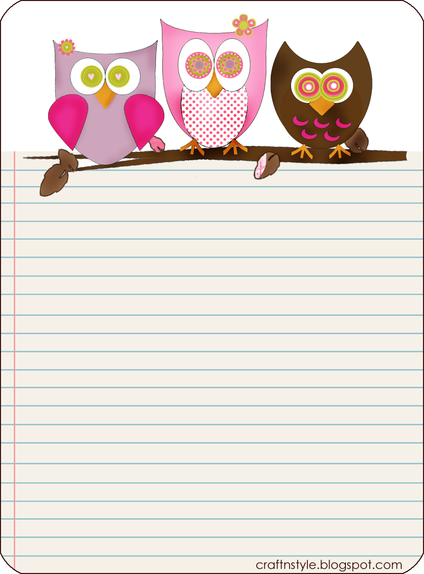 7 Images of Printable Owl Notebook Paper