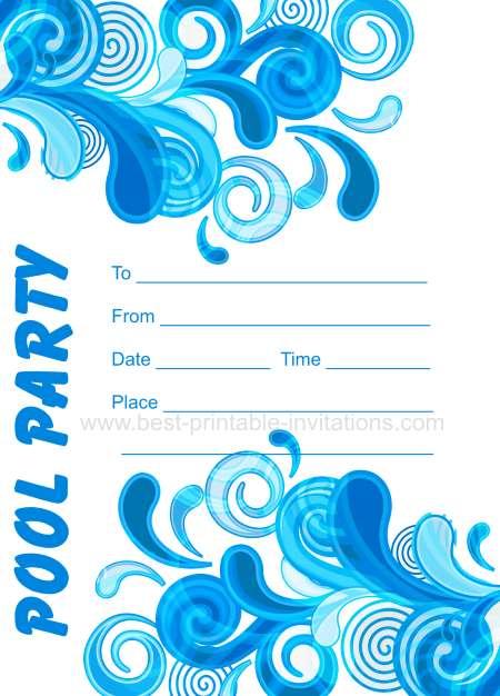 Printable Birthday Invitations Pool Party - Free Printable Pool Party ...