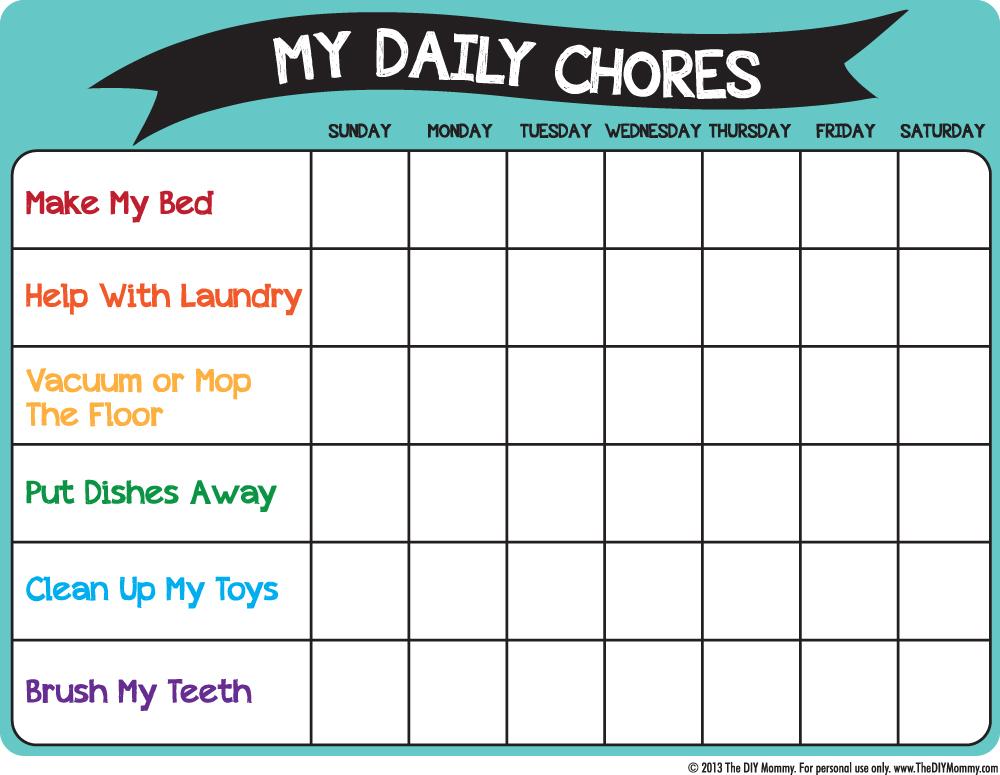 Free Printable Preschool Chore Charts