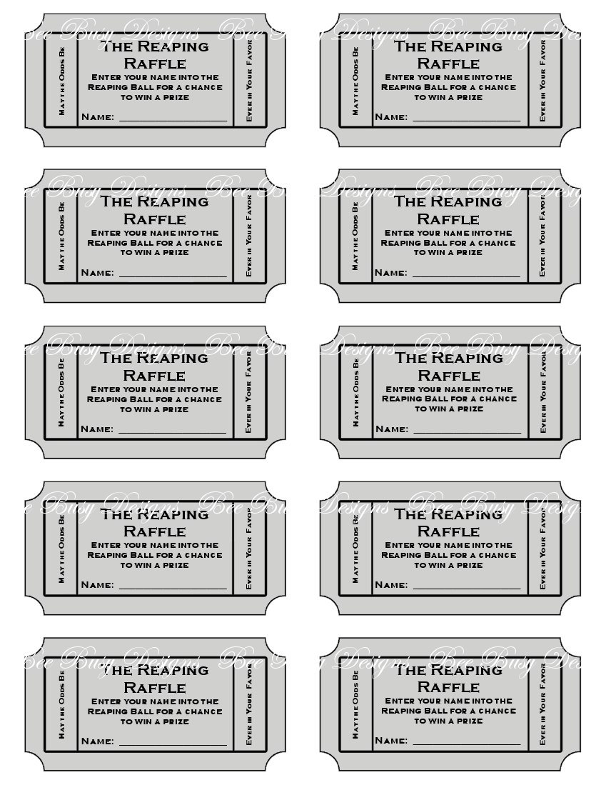 5 Images of Printable Blank Raffle Tickets