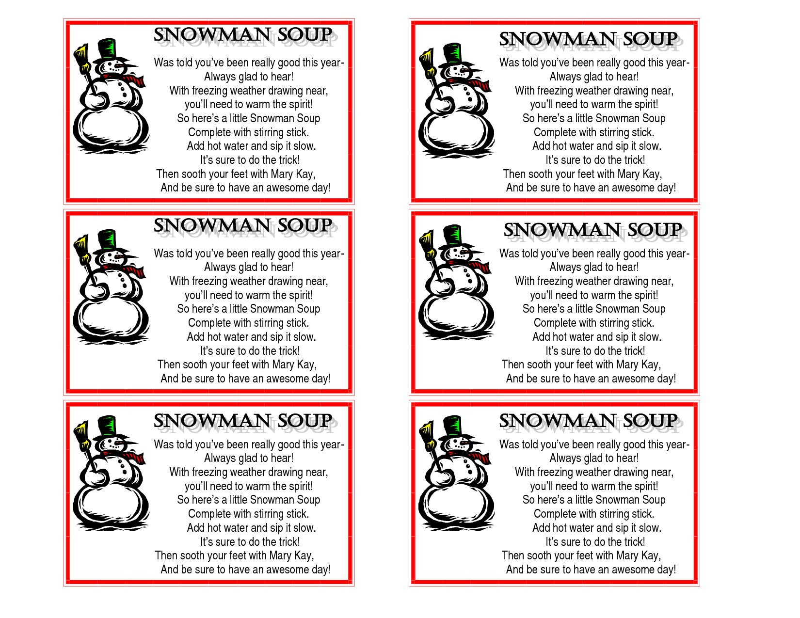 Printable Snowman Soup Poem Tags