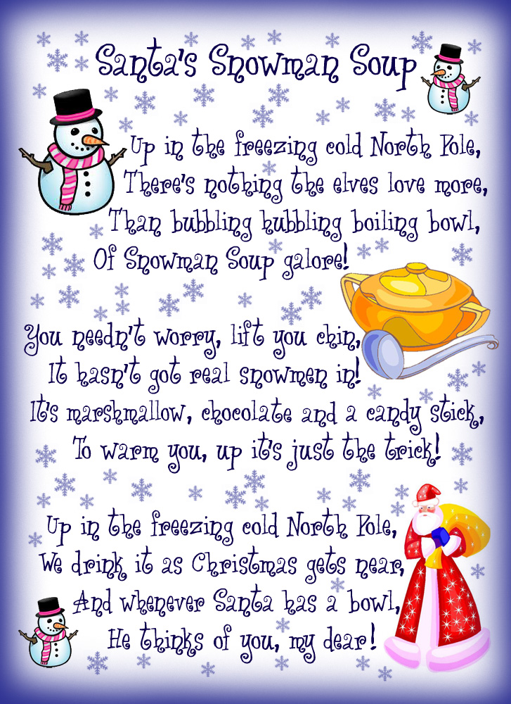 4 Images of Santa Soup Printable Tags