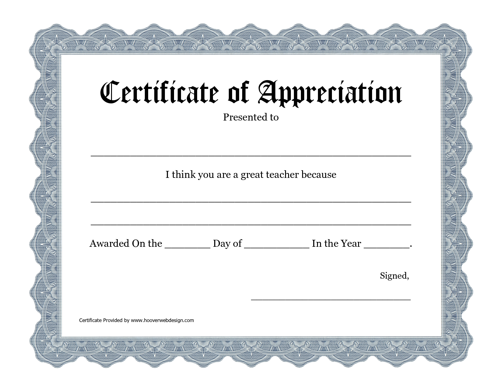 5 best images of printable teacher appreciation for Certificate of appreciation template free