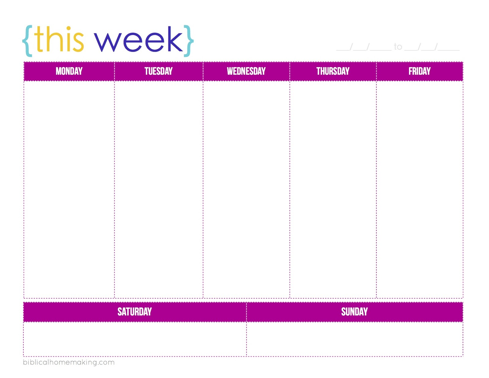 7 Images of Free Printable Week At A Glance Calendar