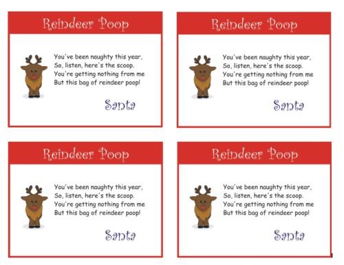 Free Reindeer Poop Poem Printable