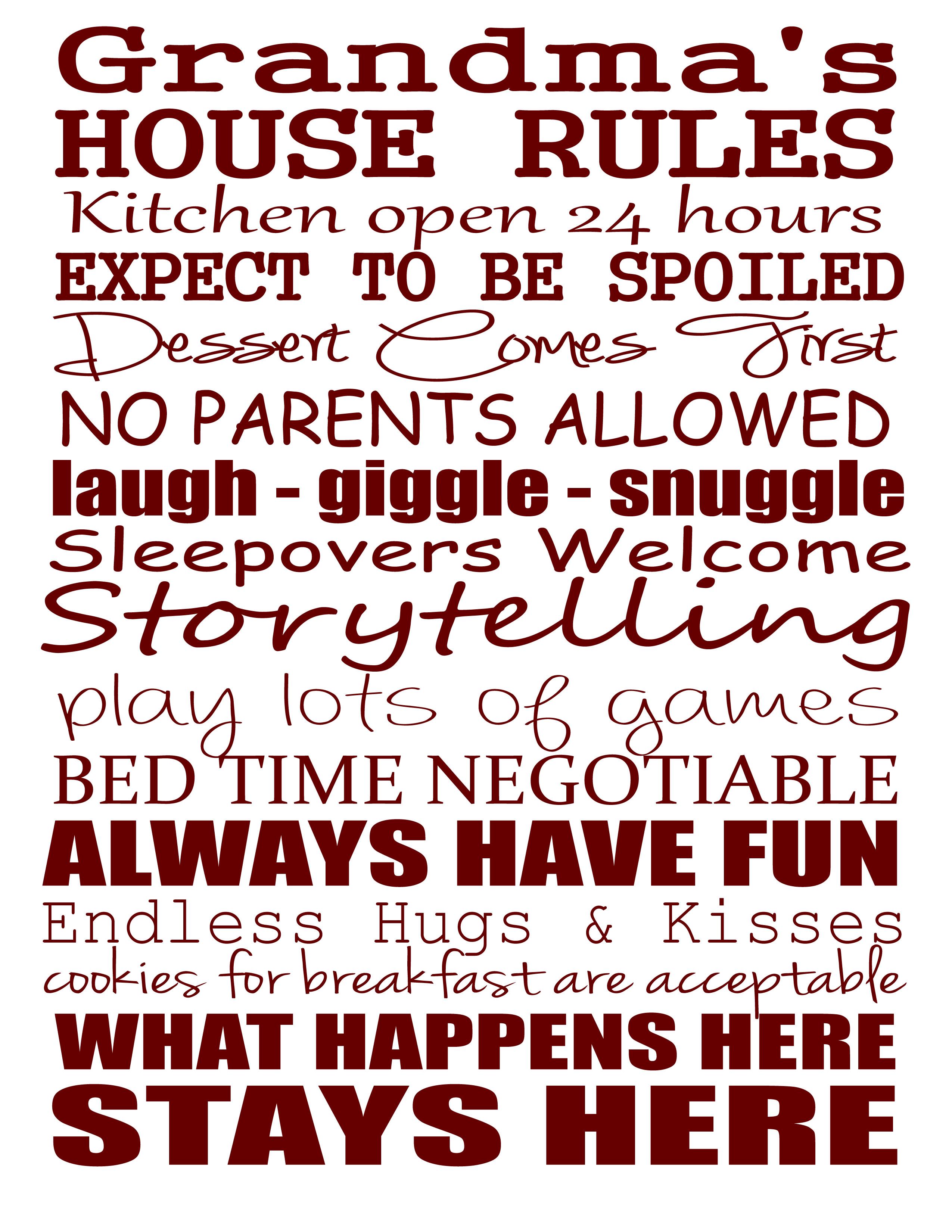 6 Images of Grandma House Rules Printable