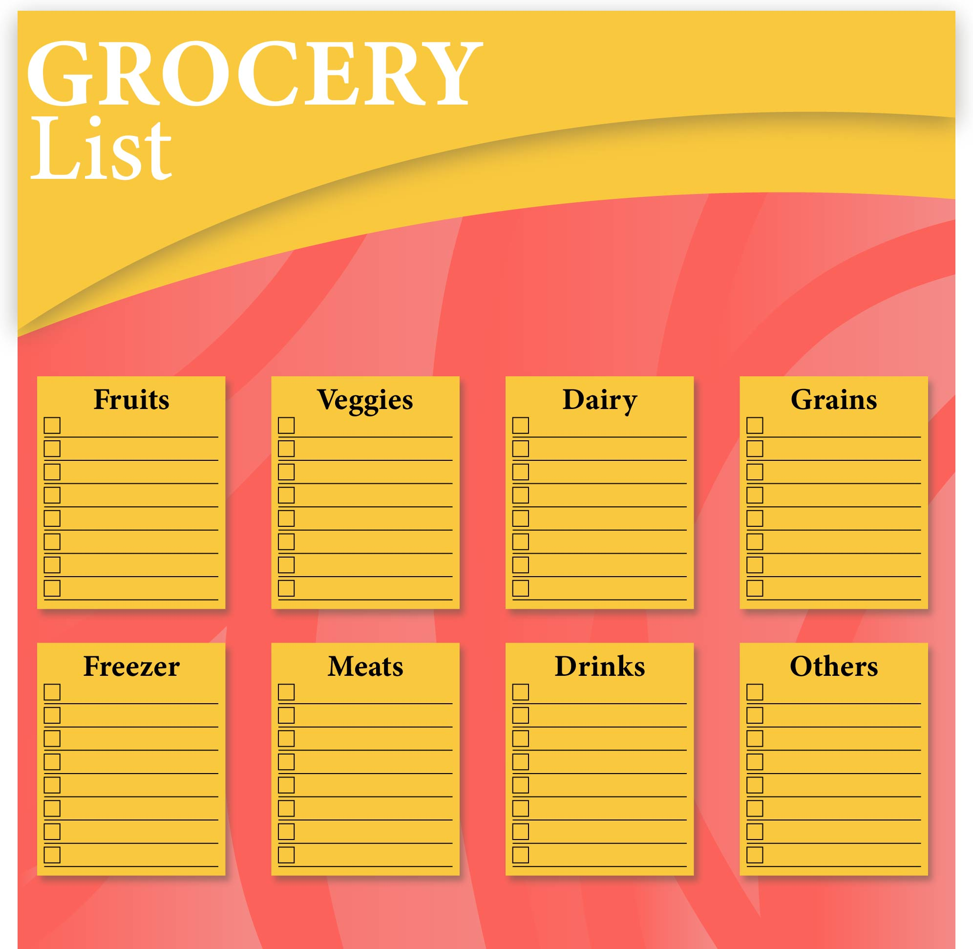 Grocery Shopping Organizer Printable
