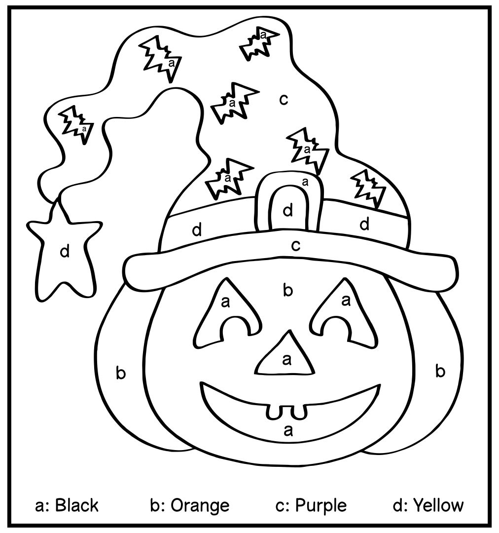Halloween Color by Letter Coloring Pages