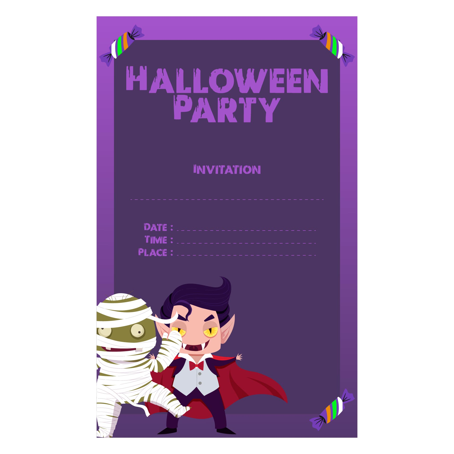 5 Images of Halloween Party Invites Printable