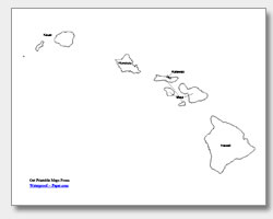 6 Images of Printable Outline Map Of Hawaii