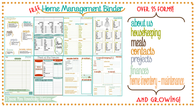 Home Management Binder Free Printables Organizing