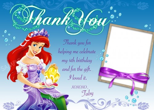 6 Images of Little Mermaid Thank You Card Printable