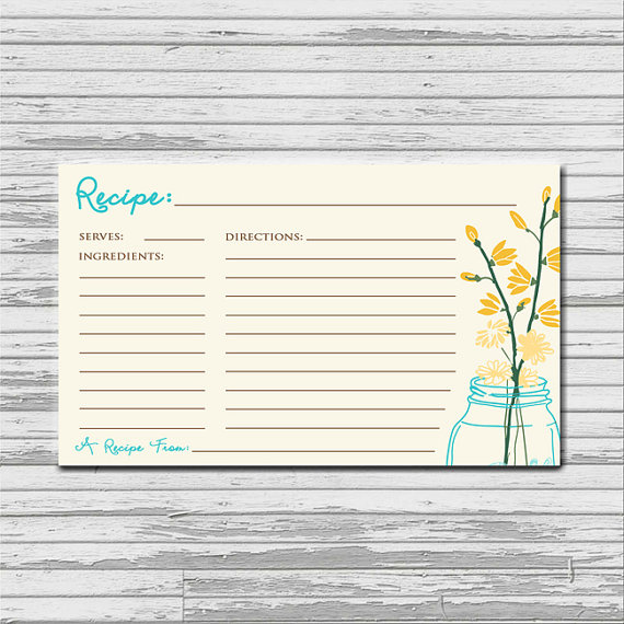 6 Images of Printable 3X5 Recipe Cards