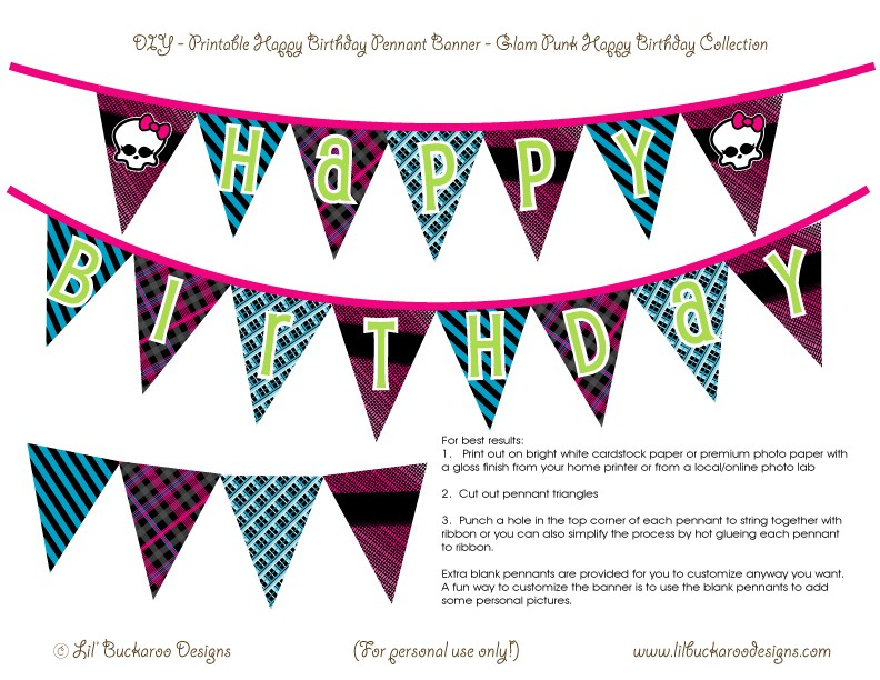8 Images of Monster High Happy Birthday Printables