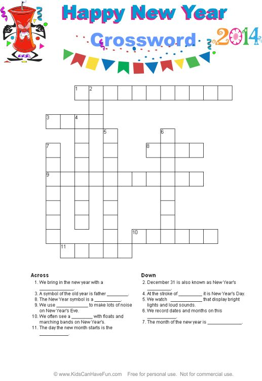 4 Images of Happy New Year Crossword Puzzle Printable