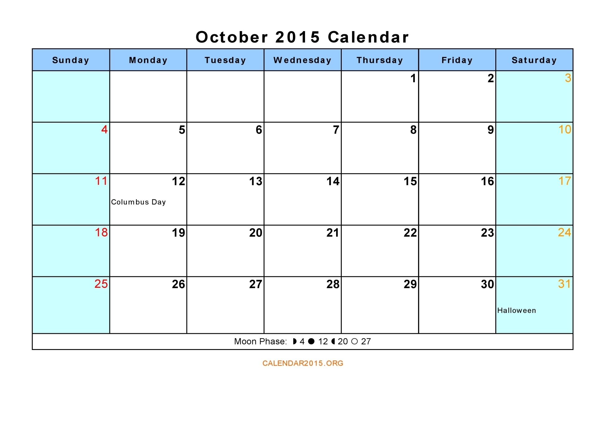 October Calendar 2015 : Best images of october calendar printable free