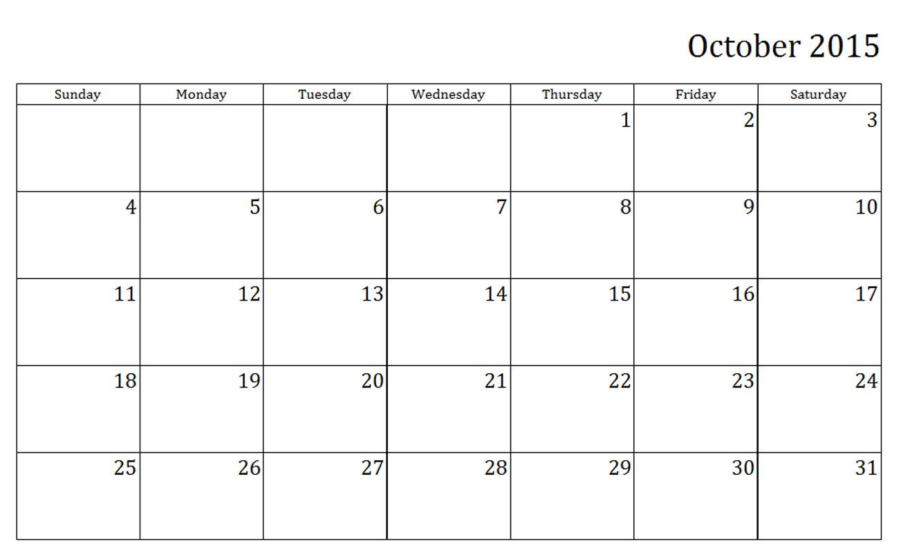 October Calendar Template 2015 : Best images of october calendar printable free