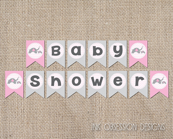 6 Images of Pink And Gray Baby Shower Banner Printable Free