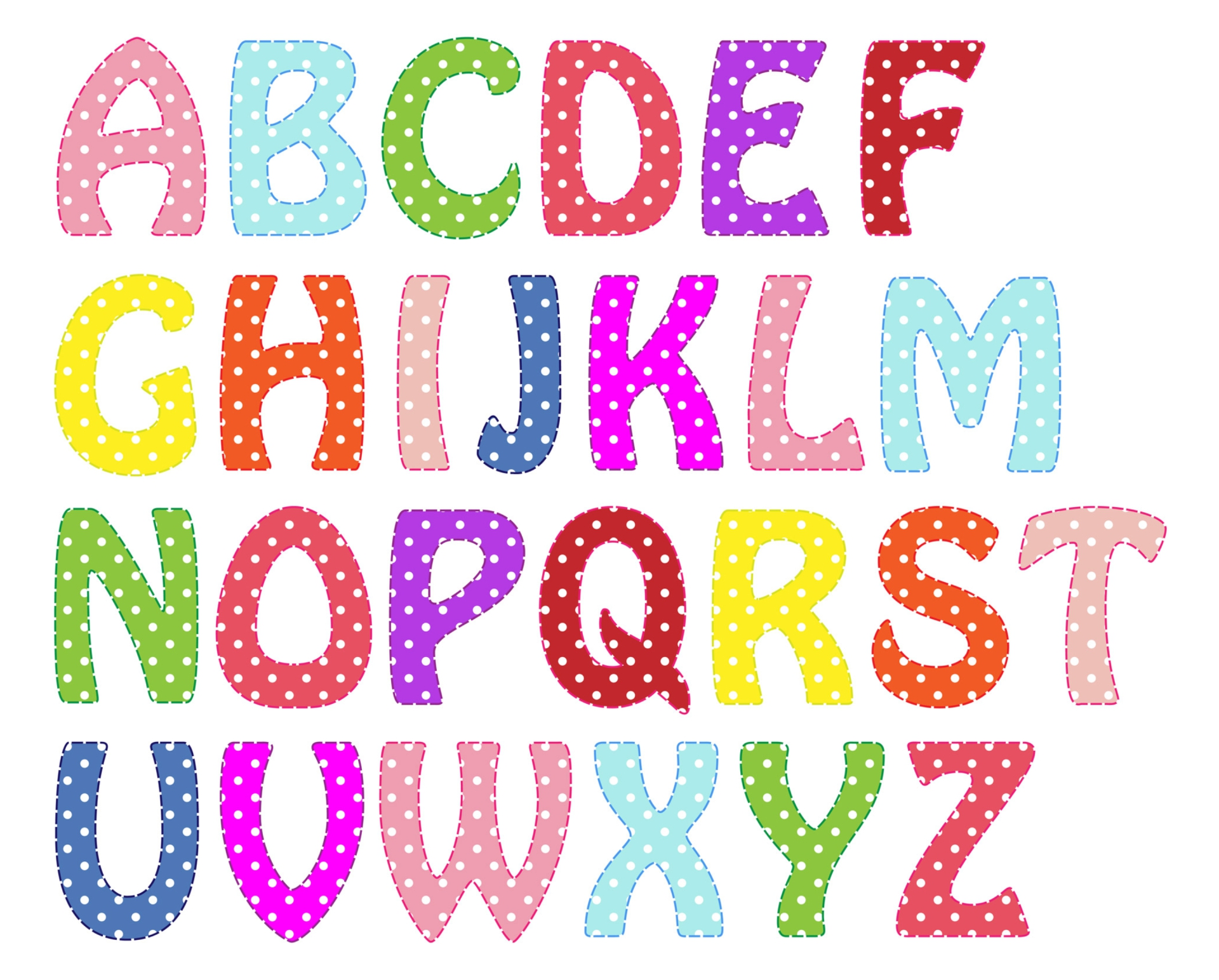 9 best images of free printable polka dot alphabet for Dots alphabet letter