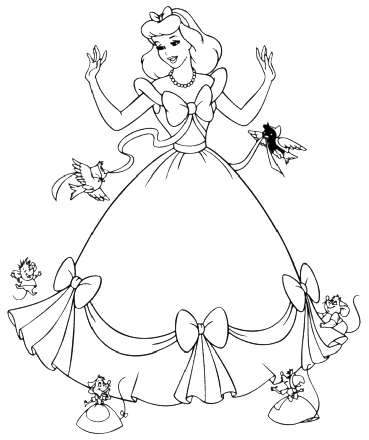 6 Images of Cinderella Free Printable Coloring Pages