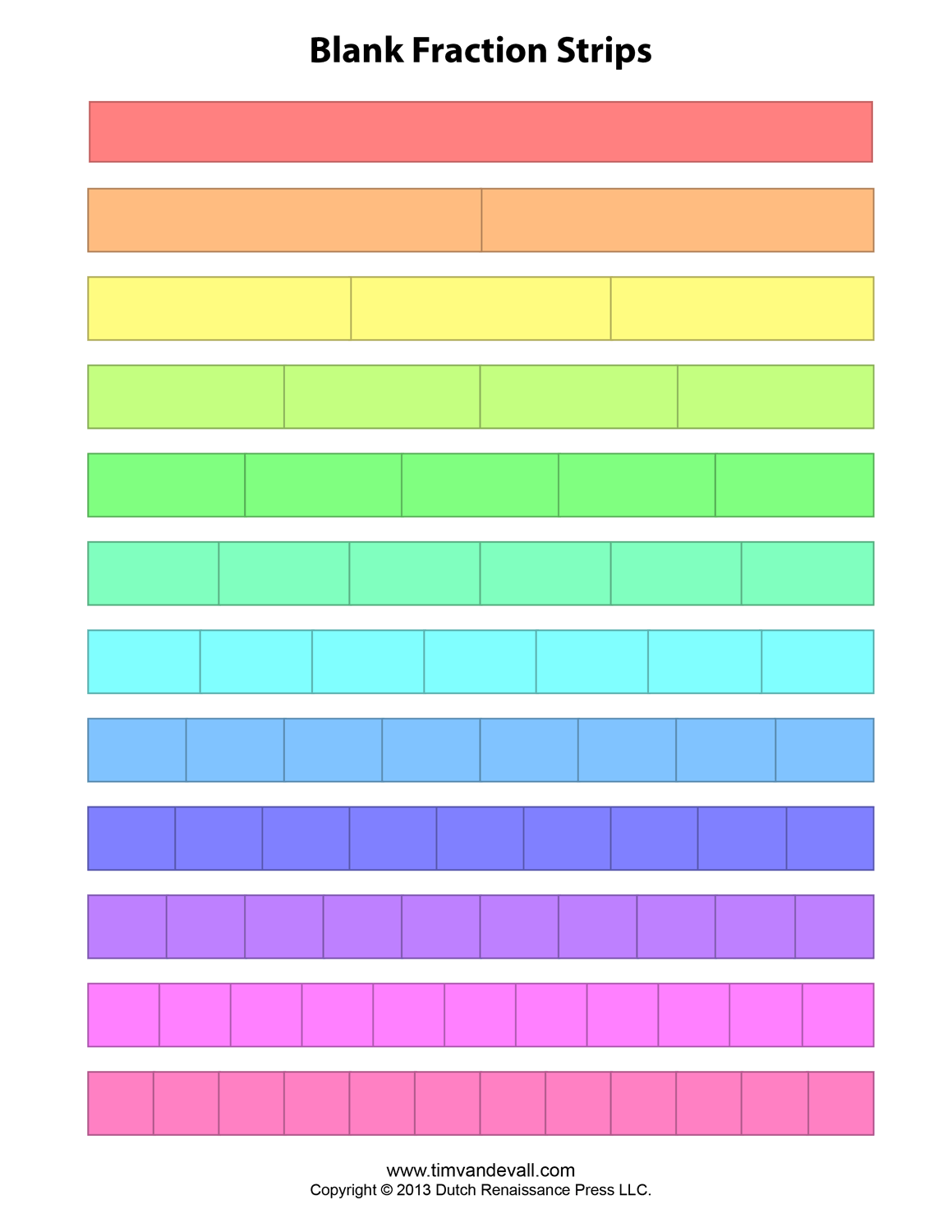 Blank Fraction Bars - Blank Fraction Strips Printable, Printable Blank ...