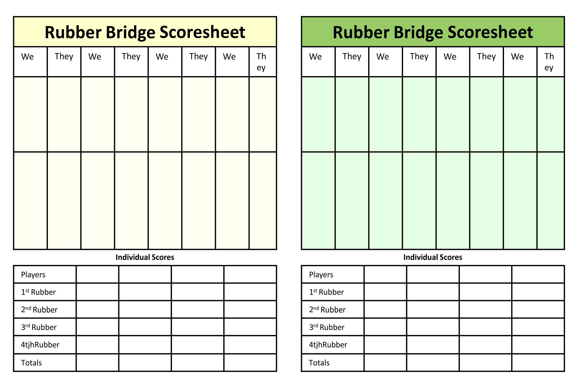 Printable Bridge Score Sheets Template