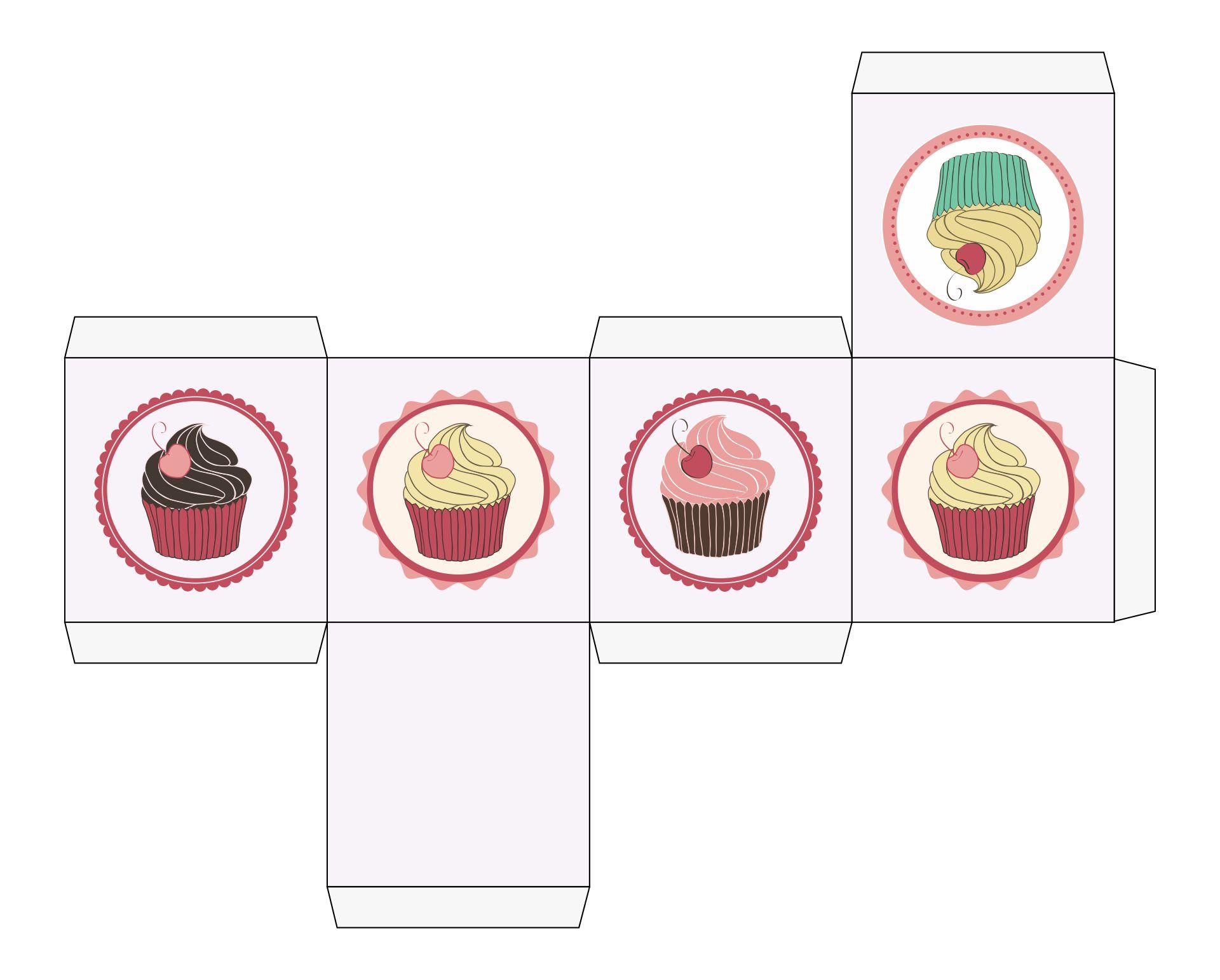Printable Cupcake Box Template