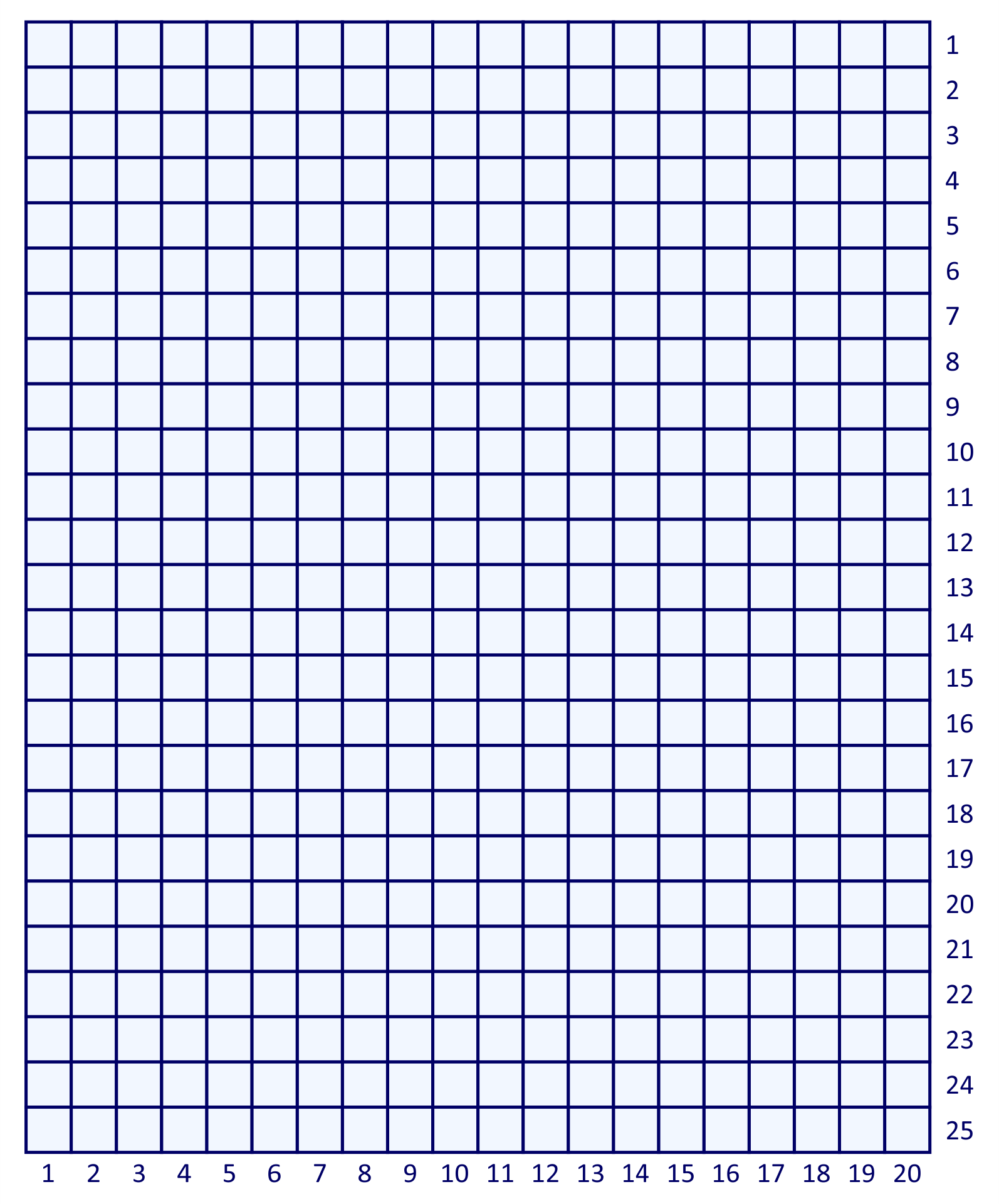 Printable Graph Paper 20 by 25 Coordinate Grid