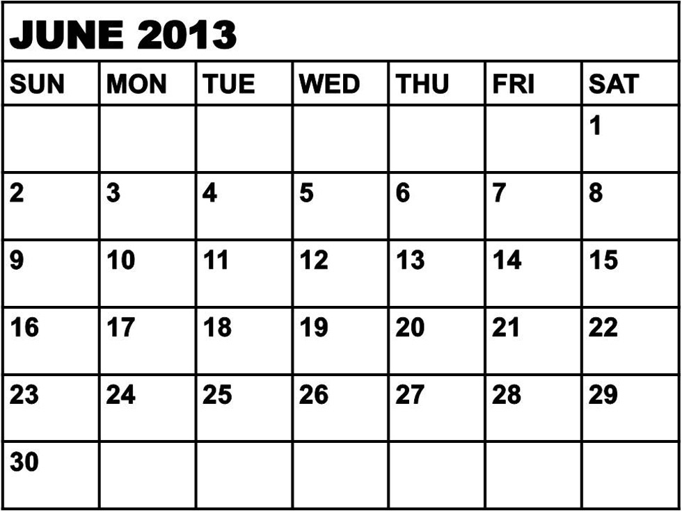 Calendar June 2013 : Best images of june calendar printable template