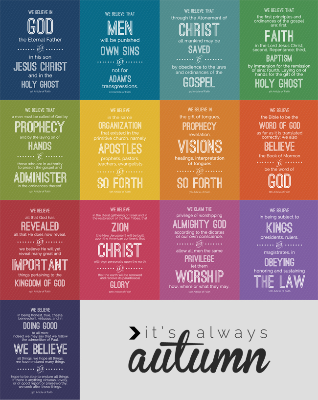 8 Images of LDS Printables Articles Of Faith