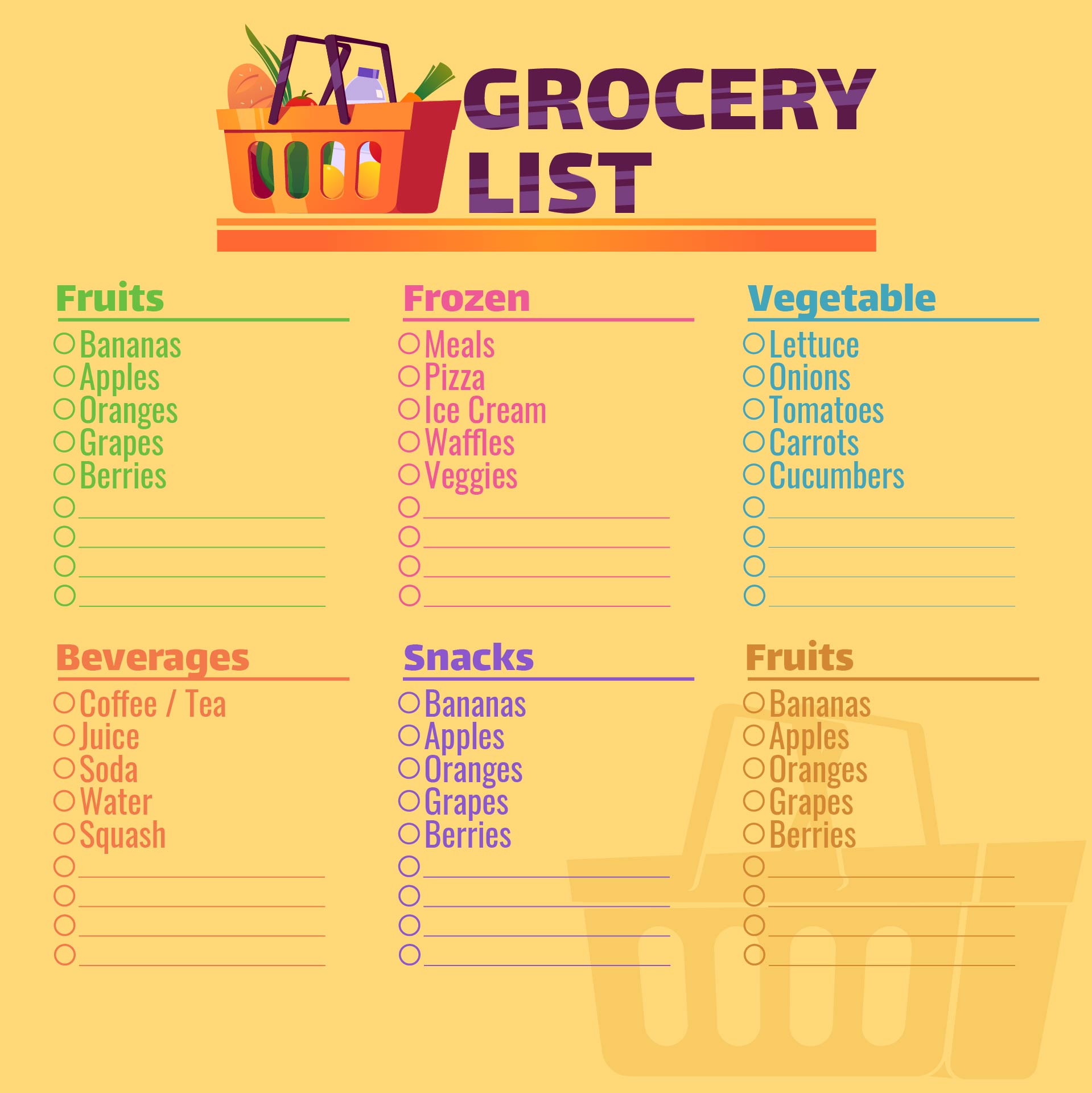 6 Images of Printable Grocery Shopping Organizer