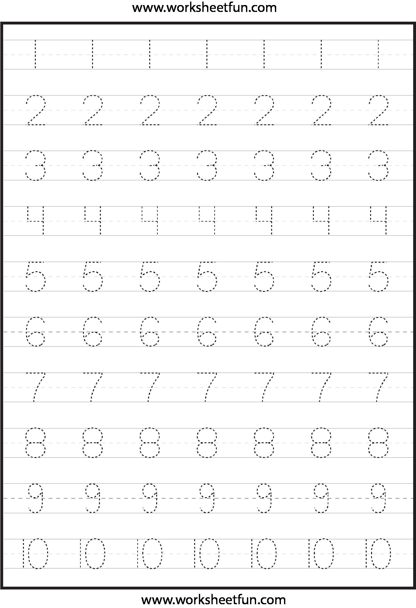 Tracing Numbers 1 10 Worksheets For Preschoolers - tracing numbers ...