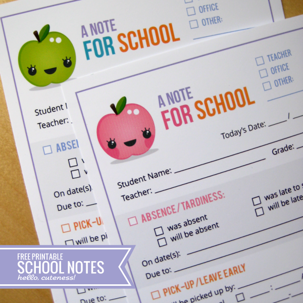 7 Images of Free Printable School Notes