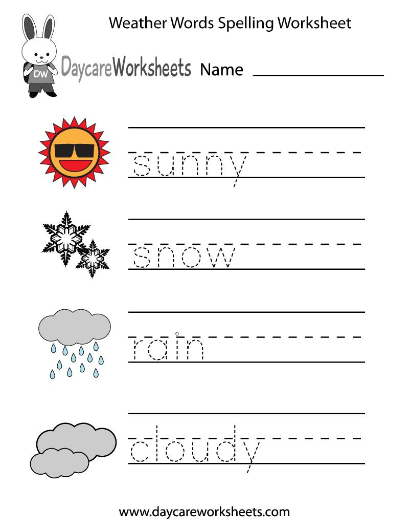 8 Images of Weather Free Printable Kindergarten Worksheets