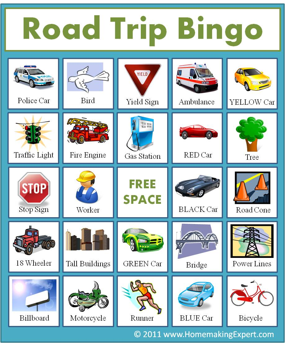 9 Images of Highway Bingo Printable Cards