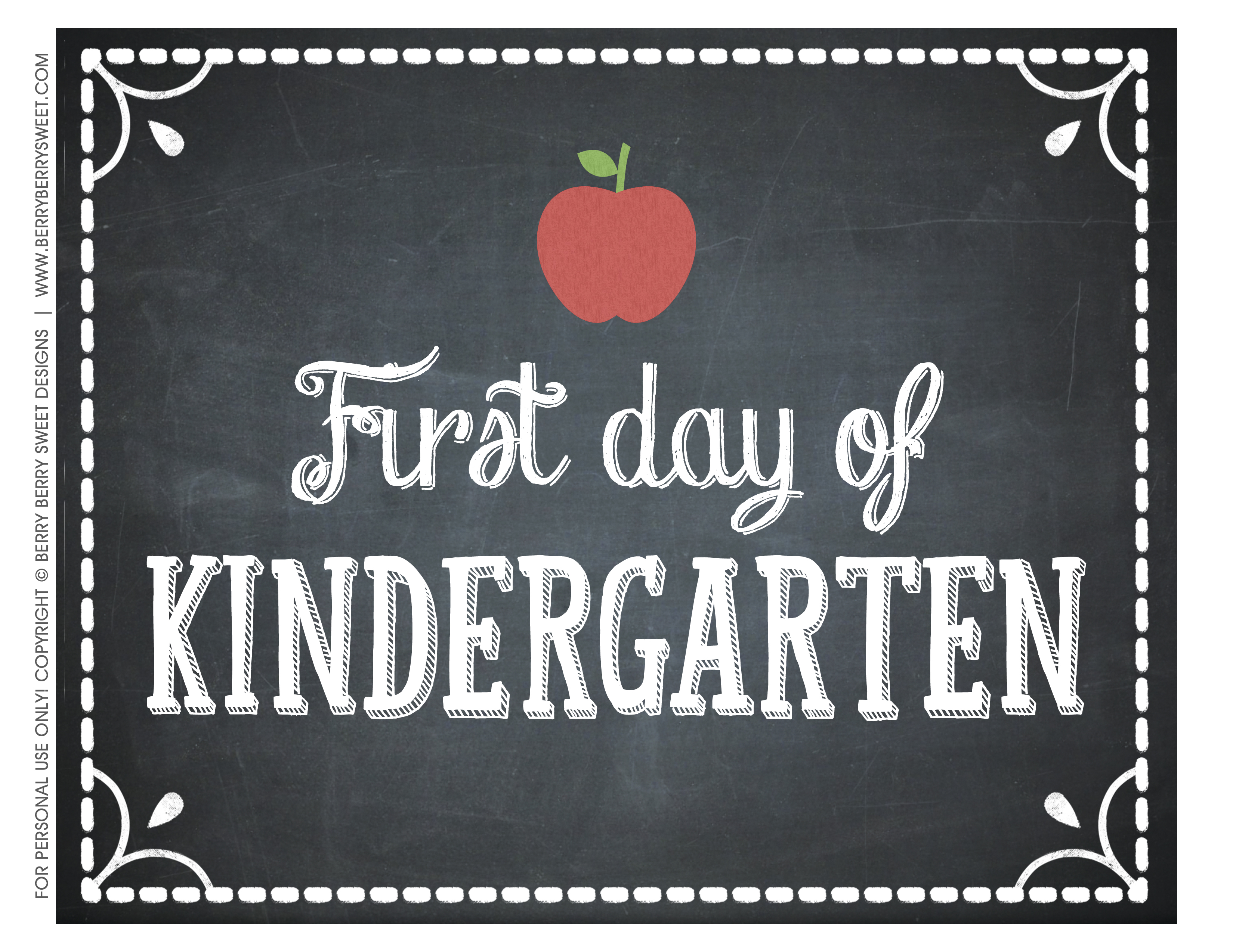5 Images of 1st Day Of Kindergarten Printable
