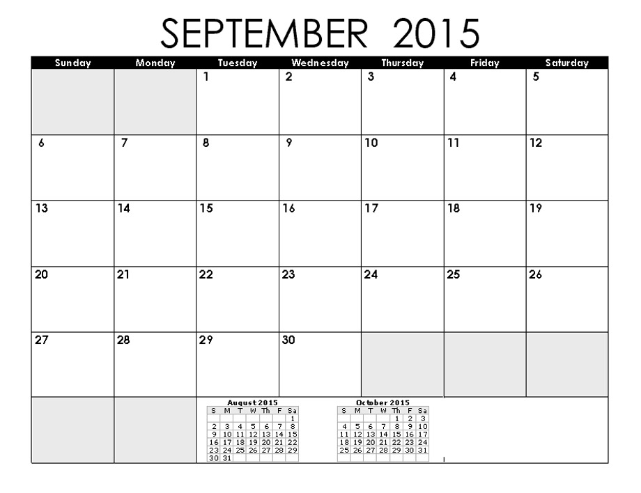 5 Images of September 2015 Calendar With Holidays Printable