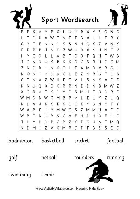 4 Images of Printable Sports Word Search