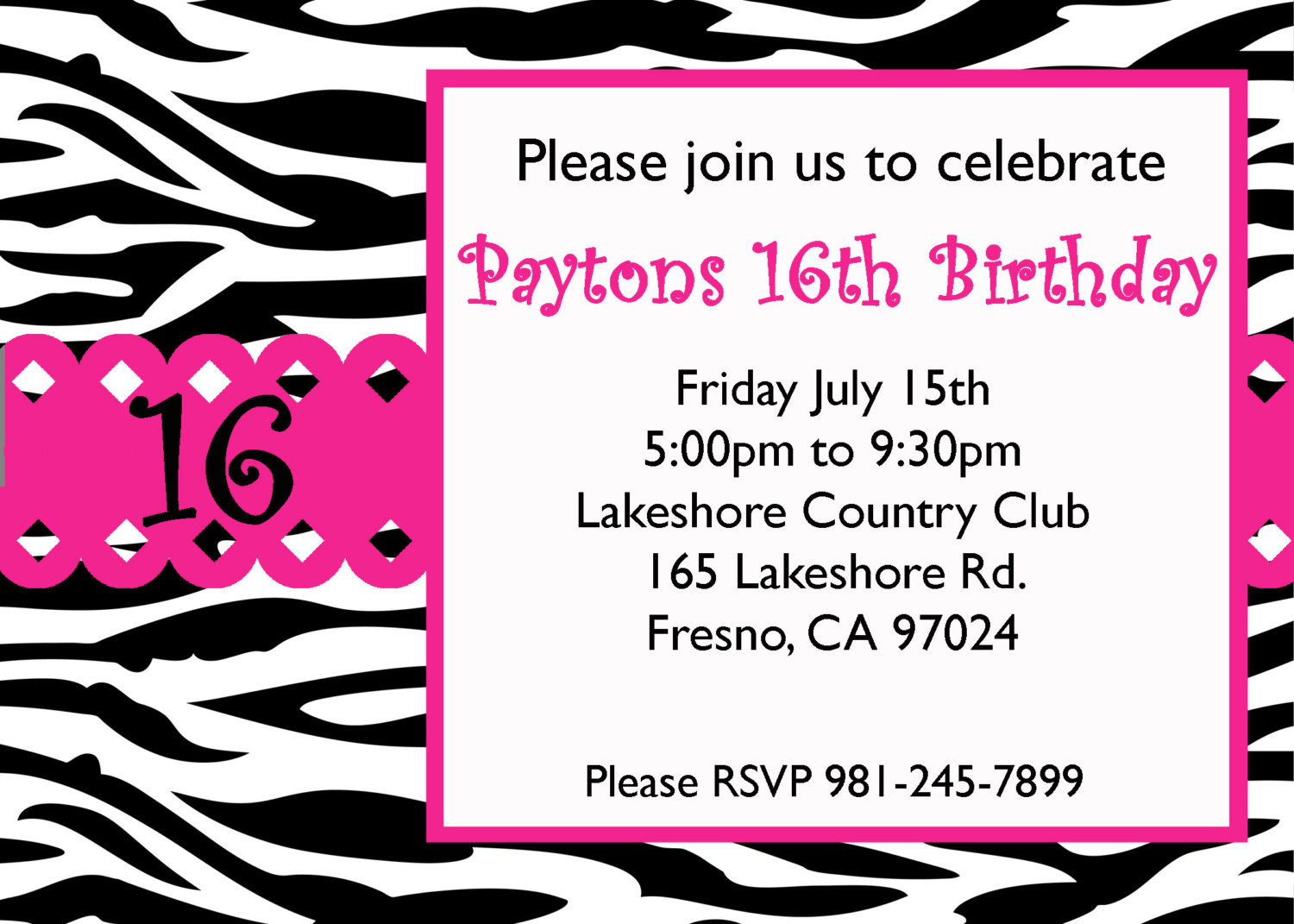 8 Images of 16th Birthday Invitations Free Printable