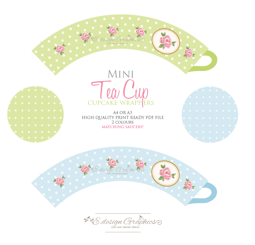 Printable Cupcake Wrappers - Tea Cup Cupcake Wrappers, Tea Cup Cupcake ...