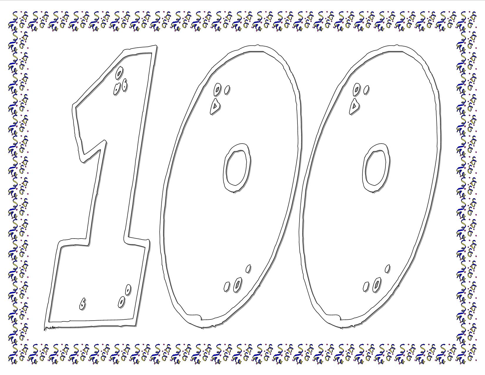 100 days of school coloring pages - 8 best images of 100th day of school free printables