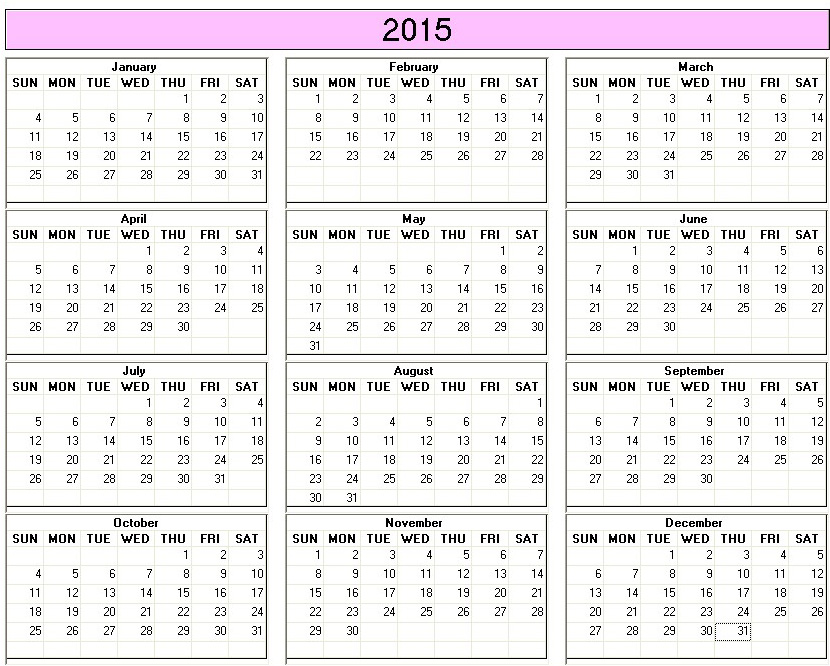 7 Images of Bold Printable Yearly Calendar 2015