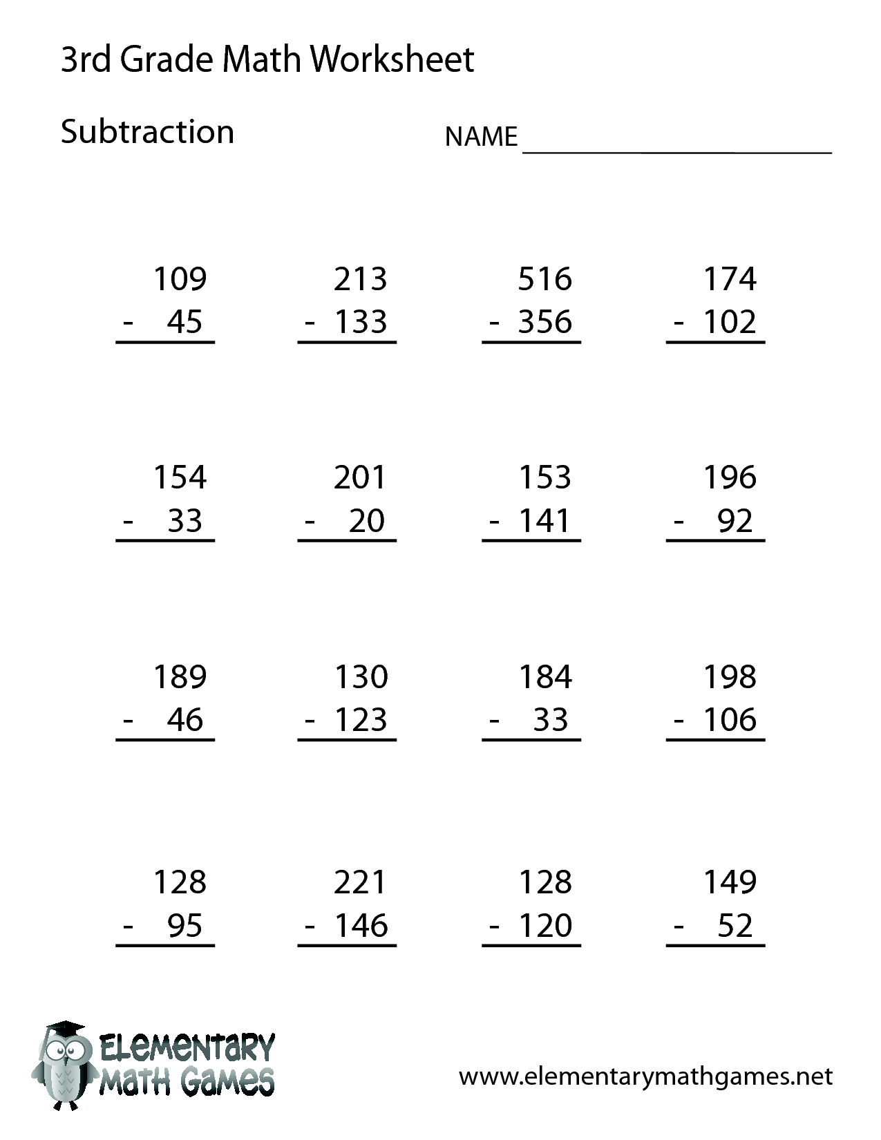Printable Subtraction Worksheets For 3rd Grade Worksheet Kids – 3d Grade Math Worksheets