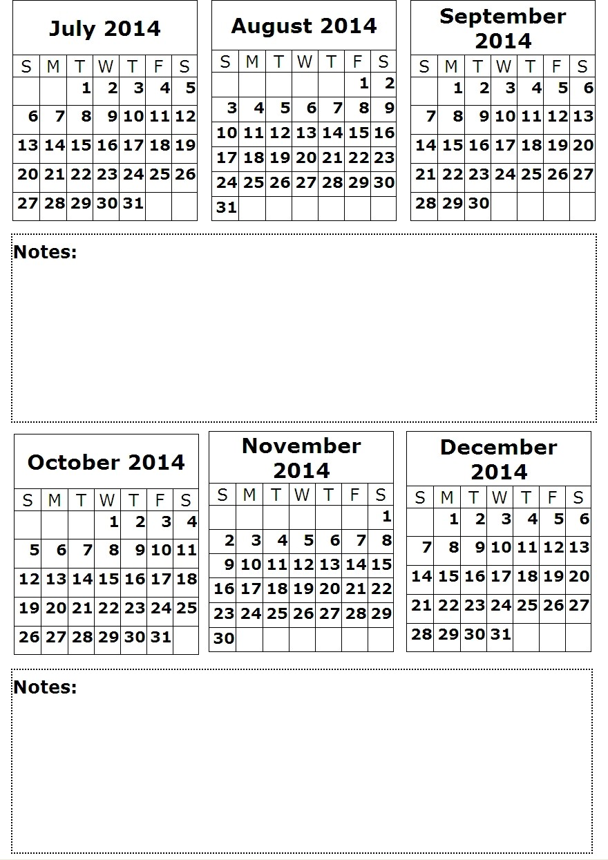 6 Images of Printable Month Calendar 2014