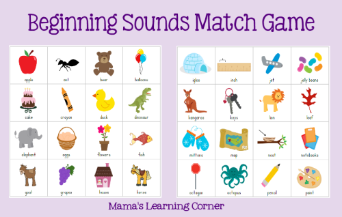 7 Images of Printable Initial Sound Games