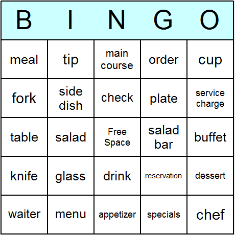 8 Images of Printable Restaurant Bingo Cards